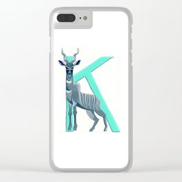 K is for Kudu Letter Alphabet Decor Design Art Pattern Clear iPhone Case
