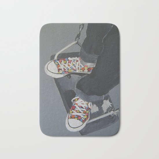 Flowered Converse shoes on a swing Bath Mat