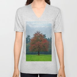 Lonely Little Red Tree In Wood Clearing Ultra HD Unisex V-Neck