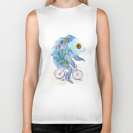 fish on a bicycle Biker Tank