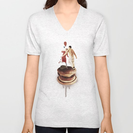 These Burgers Are Crazy II  | Collage Unisex V-Neck