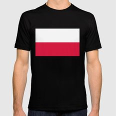 National flag of Poland Mens Fitted Tee Black MEDIUM