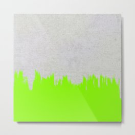 Brushstroke on Concrete - Neon Green Metal Print