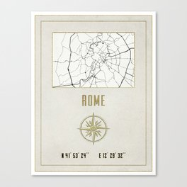 Rome - Vintage Map and Location Canvas Print