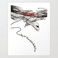 Beware of the sharks! Art Print