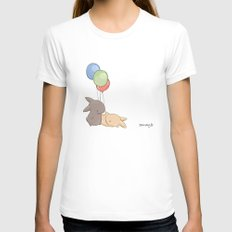 Balloons White MEDIUM Womens Fitted Tee
