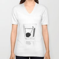 vodka V-neck T-shirts featuring Cherry Vodka  by Lucas Hayas