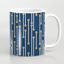 Dotted Lines in Navy, Cream and Orange Coffee Mug