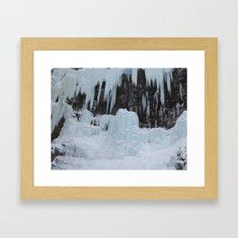 Johnston canyon frozen icicles Framed Art Print