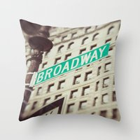 broadway Throw Pillows featuring Broadway  by Carmen Moreno Photography