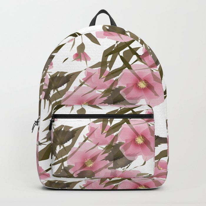 Pink white floral pattern . Backpack