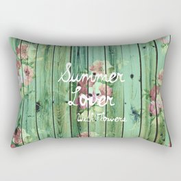 Summer Lover With Flowers | Vintage Floral pattern Teal Striped Wood Rectangular Pillow