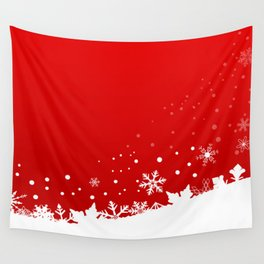 Red Snowflake Scene Wall Tapestry