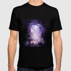 In The Glow of Darkness We Wait Black MEDIUM Mens Fitted Tee