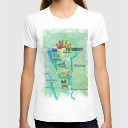 USA Vermont State Travel Poster Map with Touristic Highlights T-shirt