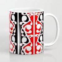 maori Mugs featuring  Maori Kowhaiwhai Traditional Pattern  by mailboxdisco