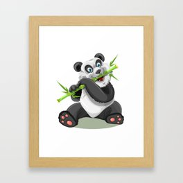 Happy panda bear eating bamboo Framed Art Print