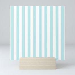 Striped- Turquoise vertikal stripes on white - Maritime Summer Beach Mini Art Print