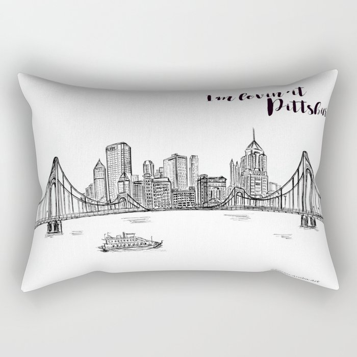 Ink Sketch Pittsburgh Skyline Rectangular Pillow By Karenaruba Society6