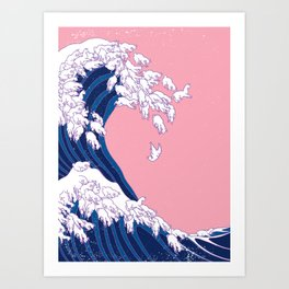 Llama Waves in Pink Art Print