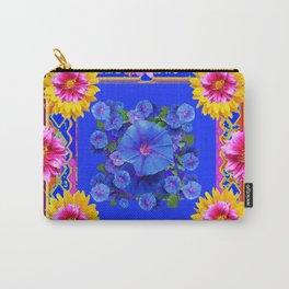 BUTTERFLIES FUCHSIA DAHLIA SUNFLOWER MORNING GLORY BLUE  FLORAL Carry-All Pouch