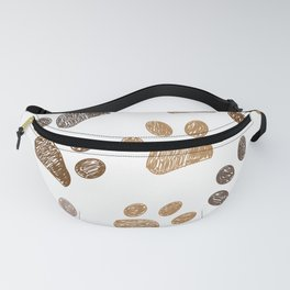 Brown colored paw print background Fanny Pack
