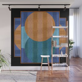Orange Blues Geometric Shapes Wall Mural