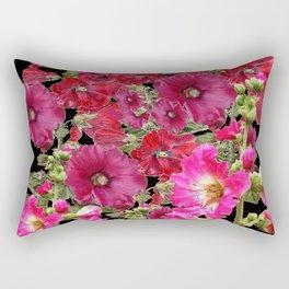 WESTERN  PINK HOLLYHOCKS PATTERNED ART Rectangular Pillow