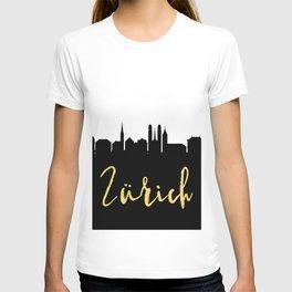 ZURICH SWITZERLAND DESIGNER SILHOUETTE SKYLINE ART T-shirt