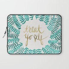 Treat Yo Self – Gold & Turquoise Laptop Sleeve