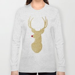 Rudolph The Red-Nosed Reindeer | Gold Glitter Long Sleeve T-shirt
