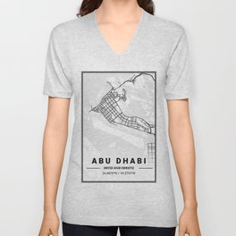 Abu Dhabi Light City Map Unisex V-Neck