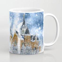 Provo City Center LDS Temple in Winter watercolor Coffee Mug