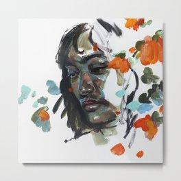 portrait and flowers - study 04 Metal Print