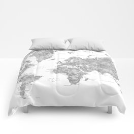 World map with labels in spanish, gray watercolor Comforters