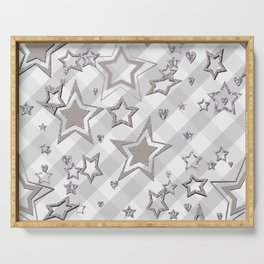 Holiday decor, shiny stars ,Christmas 2 Serving Tray