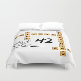 Life Universe and Everything Scrabble 42 Duvet Cover