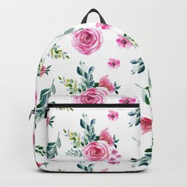 Blush pink green watercolor modern floral pattern Backpack