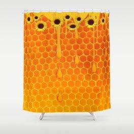 SUNFLOWERS GOLDEN HONEYCOMB WAX ART Shower Curtain