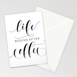 COFFEE DECOR, Life Begins After Coffee,Coffee Sign,Inspirational Quote,Bar Decor,But Firs Coffee Stationery Cards