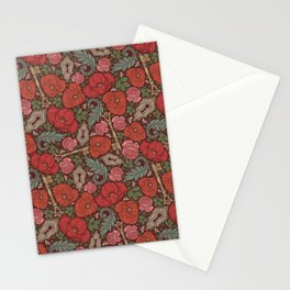 Red poppies and roses with golden keys on dark background Stationery Cards