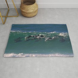 Wave Series Photograph No. 27 - Pod of Dolphins Surfing the Waves Rug