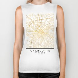 CHARLOTTE NORTH CAROLINA CITY STREET MAP ART Biker Tank