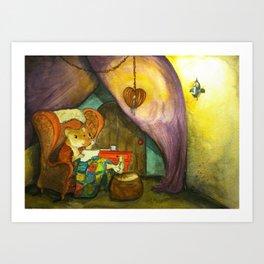 Ginger in Her Cozy Caravan Art Print