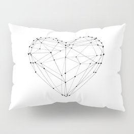 Love Heart Geometric Polygon Drawing Vector Illustration Valentines Day Gift for Girlfriend Pillow Sham