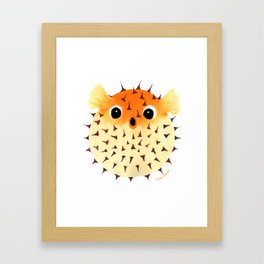 Orange Puffed Pufferfish Framed Art Print