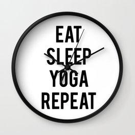 Eat sleep yoga repeat Wall Clock