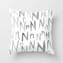 Watercolor N's - Grey Gray Throw Pillow