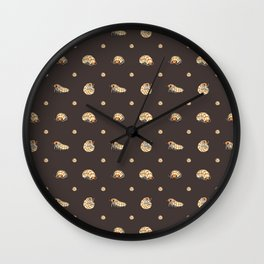 Roly Poly Party! Peach on Brown Wall Clock