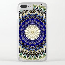 Bohemian Bright Blue and Gold Mandala Clear iPhone Case